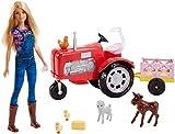 Barbie FRM18 - Bäuerin Puppe mit Traktor, abnehmbaren Anhänger und 5 Tiere, Bauernhof Puppen Spielset, Mädchen Spielzeug ab 3 Jahren