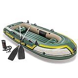 Kanu aufblasbar Sitzkajaks Dreipersonen-Schlauchboot, Kajak, Gummiboot, aufblasbare Verdickung, aufblasbares Fischerboot im Freien Kanu Mit Paddel Wassersport ( Farbe : Grün , Größe : 295x137x43 cm )