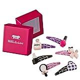6 Haarspangen Haaraccessoires mit einem Beauty Salon Set (Nagellack, Parfüm, Lippenstift, Handspiegel, Pudel und Handtasche) für Kinder in pinker Box von HAARallerliebst
