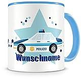 Samunshi Kinder-Tasse mit Namen und einem Polizei-Auto als Motiv Bild Kaffeetasse Teetasse Becher Kakaotasse Nr.3: blau H:95mm / D:82mm