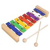 MVPOWER Xylophon Holzspielzeug Musikinstrument für Kinder Glockenspiel Pädagogische Entwicklung Spielzeug Geschenke für Babys 27*12.5*3.6 cm (Xylophon)