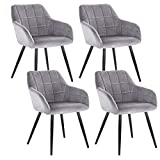 WOLTU 4 x Esszimmerstühle 4er Set Esszimmerstuhl Küchenstuhl Polsterstuhl Design Stuhl mit Armlehne, mit Sitzfläche aus Samt, Gestell aus Metall, Grau, BH93gr-4