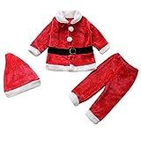 Le SSara Baby Winter 3pcs Weihnachten Weihnachtsmann Outfit Kostüm Hut + Mantel + Hose (12-18 Monate)