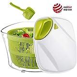 Focovida Salatschleuder 5L mit Deckel & Nudelzange 【Design Patent】 Großer Salattrockner inkl. Salatschüssel zum Servieren & Ablaufsieb für Wasser aus Kunststoff, hohe Effizienz(Transparent/Grün/Weiß)