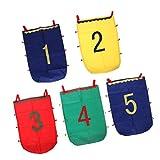 Sharplace 5 Stück Kinder Griffdesign Zahlen Muster Sackhüpfen, Hüpfsack, Springen Tasche mit 6 Silbernen Glocken Spielzeug ( Nummer von 1 bis 5 )