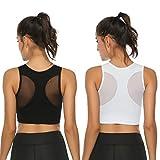 Aibrou Damen Sport BH Yoga BH Sport Bra Yoga Bra Gepolstert für Fitness Training mit verstellbaren Trägern Schwarz/Weiß S