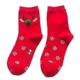 YWLINK Winter Frauen Warme Rote Baumwolle Stickerei Socken Damen Weihnachtsgeschenk Mode