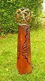 Gartendeko Fackelsäule Rost Fackel Säule 100 cm mit Feuerkugel*