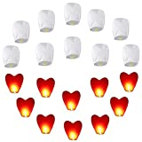 20pcs Chinesische Himmelslaternen Set (10 Stück Weiß + 10 Stück Rotes Herz) Umweltfreundliche Himmelslaternen für Hochzeiten, Partys, Begräbnis, Neujahr, Chinesisches Neujahr, Silvesterfliegenlaterne