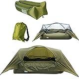 LJJYN Campingzelt draussen Regenfest Atmungsaktiv tragbar airbed Sitzsack Hängezelt,Army Green,200 * 80 * 120cm