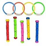 Artistic9 Spielzeug für unter Wasser schwimmen tauchen Pool-Spaß-Pool Swim-Trainer mit Stäbchen-Farben, sicher für Kinder-Spielzeug, plastik, mehrfarbig, 5PCS Swimming Dive Stick & 4PCS Diving ring