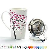 Teetasse aus Porzellan (510ml) mit Sieb und Deckel, TEANAGOO, Teekanne für Zuhause mit Steeper aus Stahl - Liebesbaum, Teebecher Brewer-Marker, Steeping-Filter für Tee, Tee-Set Neujahrsgeschenk