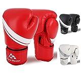 Brace Master Boxhandschuhe Leder infundiertes Gel, Trainingshandschuhe für Sparring, Sport & Outdoor Spiele für Männer und Frauen 8-16 OZ (Rot, 12-OZ)