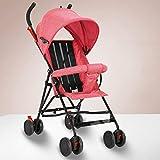 GSDZN - Babywagen Kinderwagen Falten Kinderwagen Infant Reise Buggy Regen Abdeckung UV Schutz Verhindern Glöckner 4 Rad,Pink