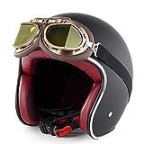 CFYBAO DOT zertifizierter Retro-Helm mit Brille Vintage Motorrad Halbhelm Elektro-Fahrrad Vier Jahreszeiten Integrierter Helm,MatteBlack,XXL