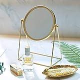 PuTwo Standspiegel Gold 360 Grad Drehbarer Vintage Tischspiegel Tischspiegel Gold Schminkspiegel Runder Spiegel Kosmetikspiegel Gold im Schlafzimmer Standspiegel Klein im Badzimmer - Champagner Gold
