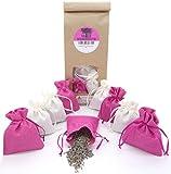 12 Lavendelsäckchen mit 120g getrockneten Lavendelblüten aus französischer Provence, Duftsäckchen zum Einschlafen, Duftsäckchen gegen Motten für Kleiderschrank, Lavendelbeutel, Weiss- Rosa
