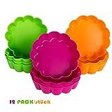 webake Törtchen Formen Silikon 12er Backform für Kleine Kuchen, Backblech für 12 Torten Gebäckform Form Zum Backen Φ 8cm