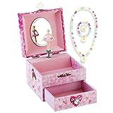 RPJC Kinder Musik - Glocke Schmuckkästchen - Box Speichern mit Schublade und Set für Schmuck mit Hübsches Mädchen Thema - Wunderschön Träumer Tune Pink