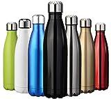 ZUSERIS Thermobecher Doppelwandige Trinkflasche Edelstahl Sportflasche Wasserflasche Camping Reisebecher Thermosflasche Haelt Getraenke 12 Stunden Kalt & 24 Heiß BPA Frei - (Schwarz, 500ml-17oz)