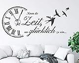 tjapalo s-pkm473 Wanduhr Wandtattoo Uhr Wohnzimmer Wandsticker Spruch - Nimm dir Zeit um Glücklich zu sein mit Uhrwerk und Kristallen