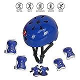 Voker Helmet Skate Protektoren Set,Skateboard Helm Kinderhelm Set 7 in 1 Schoner Set Protektoren Set mit K (Blau, S:3-5Jahre alt)