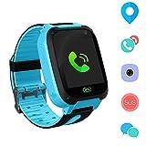 Jaybest Kid Smart Watch LBS Tracker, 1.44' Touch LCD Kinder Smartwatch mit SOS Kamera Taschenlampen Anti-Lost Voice Chat für Jungen Mädchen Geburtstagsgeschenke(Blue)