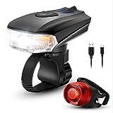 MUTANG USB Wiederaufladbare Fahrrad Licht Set 400 Hohe Lumen 3 Modi Vorne und Hinten Fahrrad Sicherheitsbeleuchtung Super Helle LED Scheinwerfer und Rücklicht Wasserdichte Taschenlampe für Nachtfahre
