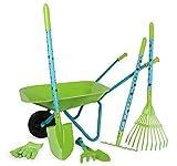 small foot 12014 Großes Gartenset mit Schubkarre aus Holz und Metall, 7-teiliges Set, Outdoor Spielzeug, Mehrfarbig