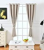 iTextilogie Gardinen Vorhang Blickdicht mit Ösen | Thermogardine Verdunklungsgardine | Einfarbige Vorhänge 245x140 cm Beige 2er Set | Gardine Schlafzimmer Kinderzimmer Küche