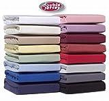 Double Jersey - Spannbettlaken 100% Baumwolle Jersey-Stretch bettlaken, Ultra Weich und Bügelfrei mit bis zu 30cm Stehghöhe, 200x200x30 Weiss