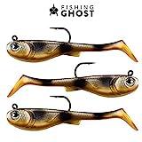 FISHINGGHOST GRUMPYbaby - 13gr, 11cm, Extreme Schwimmaktion, Angelköder zum Hechtangeln, Softbait, Swimbait, hohe Fangkraft, Köder zum Angeln auf Hecht, Gummifisch Hecht (GRUMPYbaby Gold)