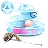 Pecute Katzenspielzeug Katze Toys 4 Turm und 4 Bälle mit Katzenminze Bälle/Glühende Bälle/Katzenangel Maus (Blau)