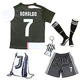 2019/2020 Juventus #7 Cristiano Ronaldo Heim Kinder Fußball Trikot Hose und Socken Kindergrößen (Heim, 24 (7-8 Jahre))