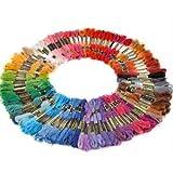 WAWO 100X Docken Sticktwist Stickgarn 8m 6-fädig Multicolor farblich bunt Basteln