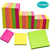 EAONE Haftnotiz Super Sticky Notes 15 Blöcke á 100 Blatt in 3 Größen