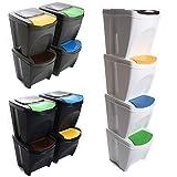 Mülleimer Abfalleimer Mülltrennsystem 80L - 4x20L Behälter Sorti Box Müllsortierer 3 Farben von rg-vertrieb (Grau)