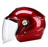 XGHW Elektrische Batterie Motorrad Helm Männer und Frauen Vier Jahreszeiten Sommer Universal Winter warmen leichten Helm (Farbe : Red, größe : 54+60cm)