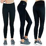 Formbelt Thermo Leggings Damen Winter Laufhose mit Tasche lang - Stretch-Hose hüfttasche für Smartphone iPhone Handy Schlüssel (schwarz L)