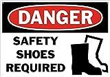 Sicherheitsschild Danger Safety Shoes Required (Sicherheitsschuhe erforderlich), aus Aluminium, 20,3 x 30,5 cm