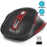 WisFox Kabellose Maus, 2.4G USB Kabellose Ergonomische Maus Computermaus 6 Tasten Laptop-Maus USB-Maus mit Nano-Empfänger 2400 DPI 5 Einstellstufen Drahtlose Mäuse für Windows-Rot