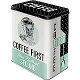 Nostalgic-Art 30146 Coffee First  | Vorratsdose L | Aufbewahrungs-Box | Kaffee-Dose | Blech-Dose | Metall