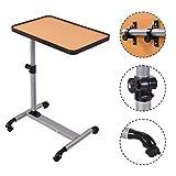 COSTWAY Laptoptisch Pflegetisch Notebooktisch Beistelltisch Betttisch Höhe/Winkel verstellbar mit Rollen Bremsen