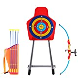 deAO Bogenschießset mit Pfeilhalter und freistehender Zielscheibe Garten-Spaßspiel