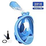 VILISUN Vollmaske Schnorchelmaske Tauchmaske Vollgesichtsmaske mit 180° Sichtfeld, Dichtung aus Silikon Anti-Fog und Anti-Leck Technologie für Alle Erwachsene und Kinder