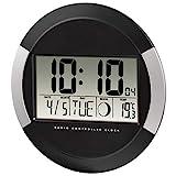 Hama Digitale Wanduhr 'PP-245' (Funkuhr mit Thermometer, Zeitzoneneinstellung, Kalender und Mondphase, Durchmesser 24,5 cm ) schwarz/silber