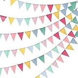 Airrioal 4 Stück Wimpelkette Wimpel Banner Wimpel Girlande draußen Outdoor Dekoration für Hochzeit Party Weihnachten Geburtstagsfeier (4.2M 12Pcs Wimpel/Jede Girlande)
