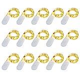 SiFar 15 Stück 2M 20 LEDs Mini Kupferlampe Warmweiß Mit Batteriebetriebene LED Lichterketten, FlaschenLicht Lichterketten für Flasche DIY, Party, Dekor, Weihnachten (15*Warmweiß)
