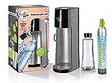 Soda Trend 06279 Wassersprudler Deluxe, schwarz inkl. Glasflasche 720ml u. CO2 Zylinder 60l | Wasserspender für Sprudelwasser | Wassersprudlergerät