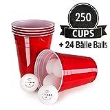 Vivaloo 250 Plastikbecher Bierpongset, 24 Bälle - Trinkbecher Red Cups, Rote Beer Pong Becher 473ml 16oz